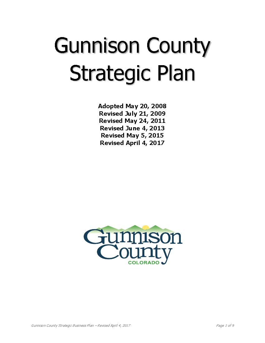 Gunnison County Strategic Plan Cover